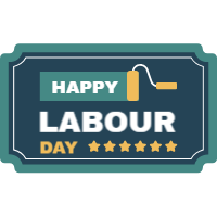 Set of labour day labels in vintage style 4